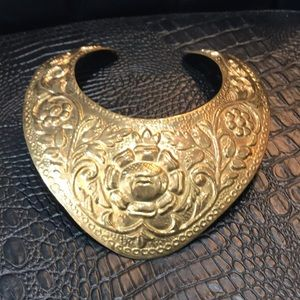 Amazing large brass neck cuff